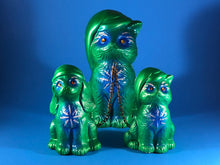 Load image into Gallery viewer, Sleepy time chained cats and dog: Green and blue, glitter and rhinestones