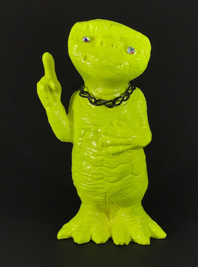 Florescent yellow ET with rhinestone eyes, black chain and metal flake