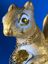 Load image into Gallery viewer, Squirrel with cats: Gold with white, glitter and chains