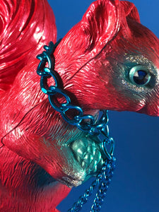 Squirrel with birds: Red with blue, glitter and chains