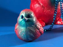 Load image into Gallery viewer, Squirrel with birds: Red with blue, glitter and chains