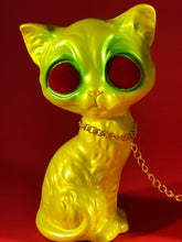 Load image into Gallery viewer, Sad dog, Sad cat chained together. Yellow and green with red flocked eyes