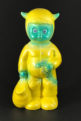 Satan worshipper, pearlescent yellow with blue. Glitter/metal flake eyes and buttons.