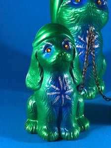 Sleepy time chained cats and dog: Green and blue, glitter and rhinestones