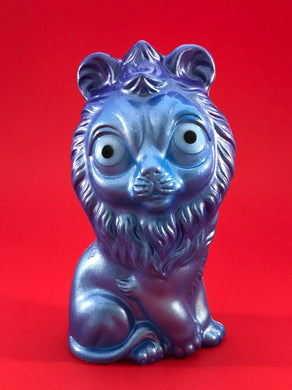 Blue and purple metallic lion