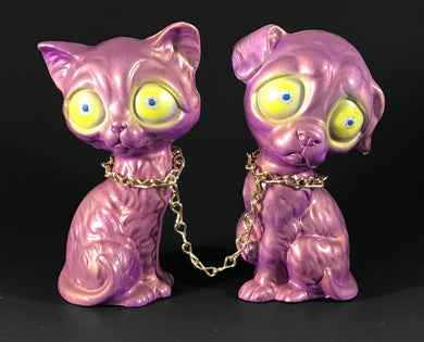 Chained sad dog and sad cat, iridescent purple/gold with metal flake/glitter eyes