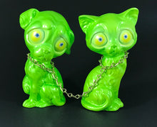 Load image into Gallery viewer, Chained sad dog and sad cat, iridescent green with metal flake/glitter eyes