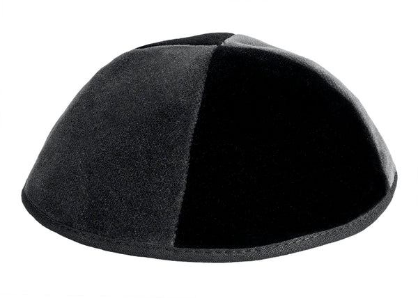 Black/Grey Velvet Yarmulka