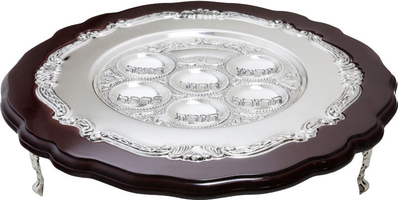 Seder Plate: Wood & Silver Plating With Stand - 12""