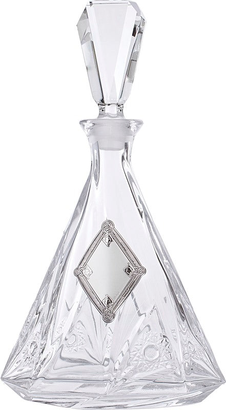 Wine/Whiskey Decanter: Crystal & Silver Plated Diamond Design