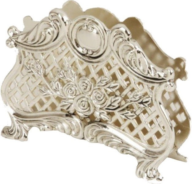 Napkin Holder: Silver Plated Lattice Design