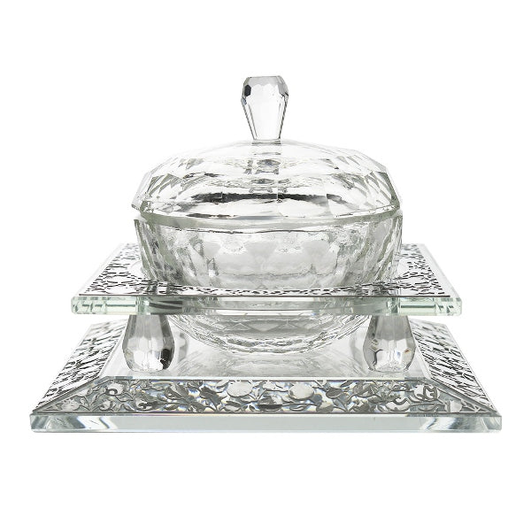 Honey Dish Set: Crystal & Sterling Silver Pomegranate Design