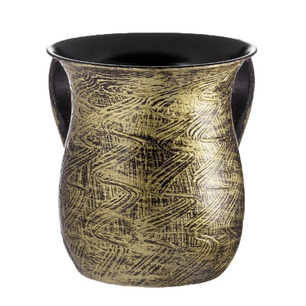 Wash Cup: Powder Coated Steel - Rubbed Brass Texture