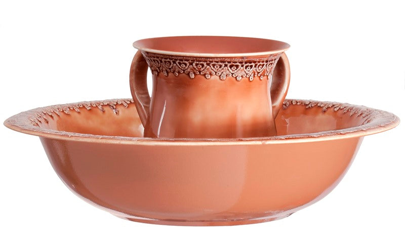 Wash Cup & Bowl: Peach Lace Border