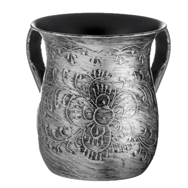 Wash Cup: Silver Embossed Text
