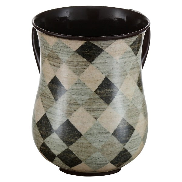 Wash Cup: Powder Coated Steel - Multi Colored Checkerboard