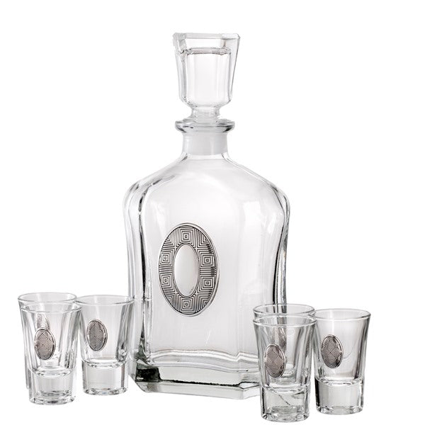 Wine/Whiskey Decanter Set: Oval Design (6 Glass Set)