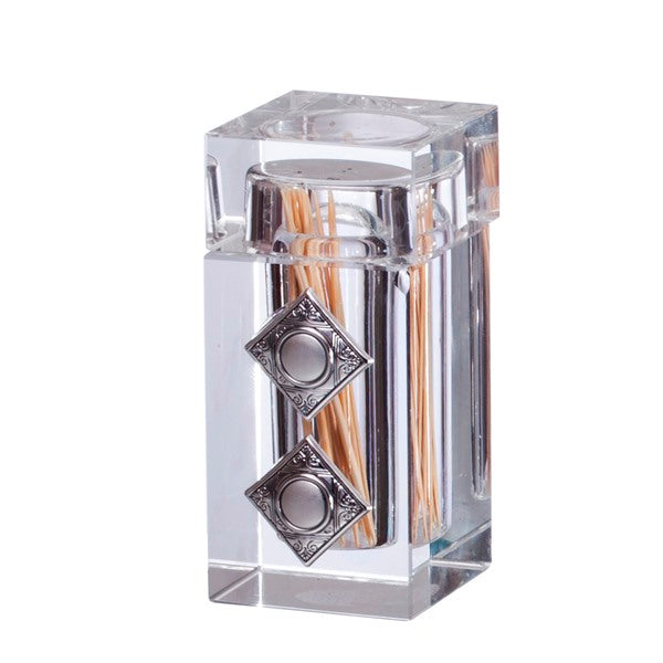 Toothpick Holder: Crystal Silver Plated