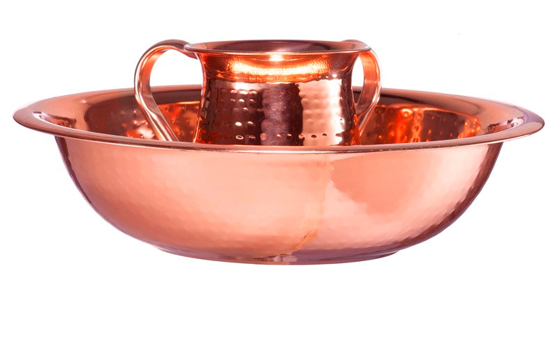 Wash Cup & Bowl: Copper Plated Hammered