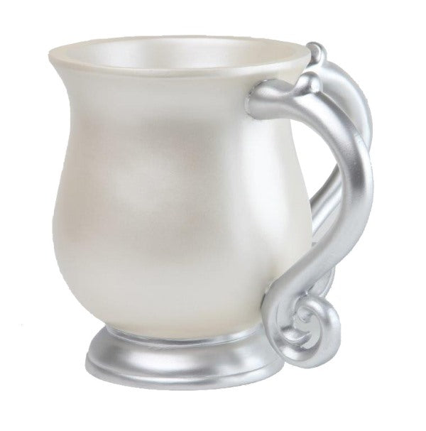 Wash Cup: Polyresin - White With Grey Handles
