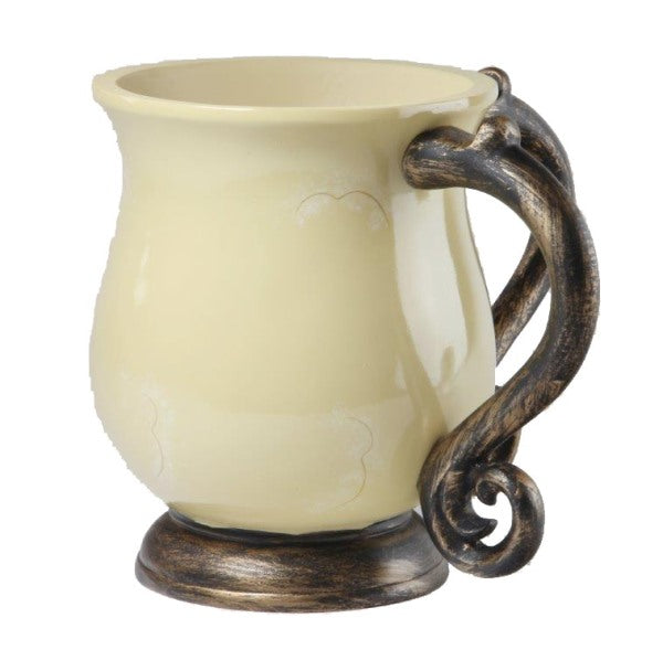 Wash Cup: Polyresin - Cream & Rubbed Bronze