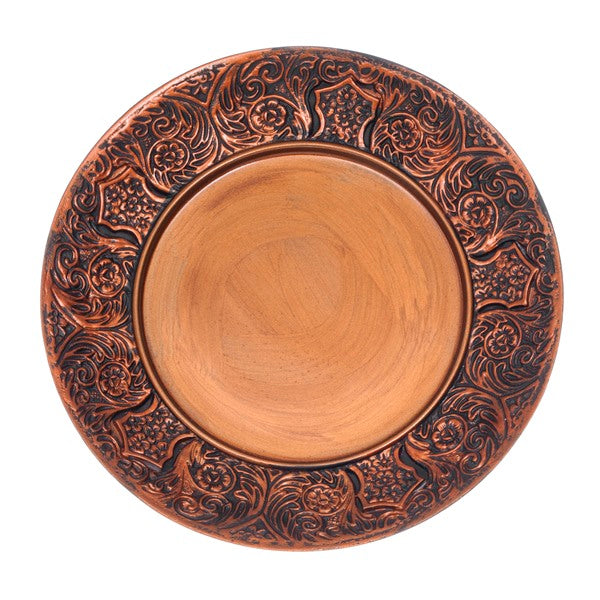 Wash Cup Tray: Polyresin Filigree Design - Brown