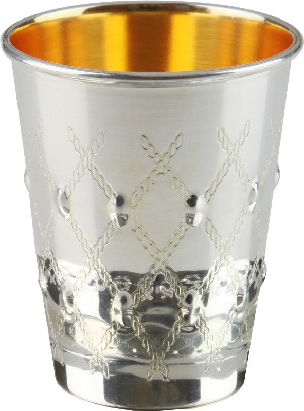 Kiddush Cup: Silver Plated Rope Grid Design