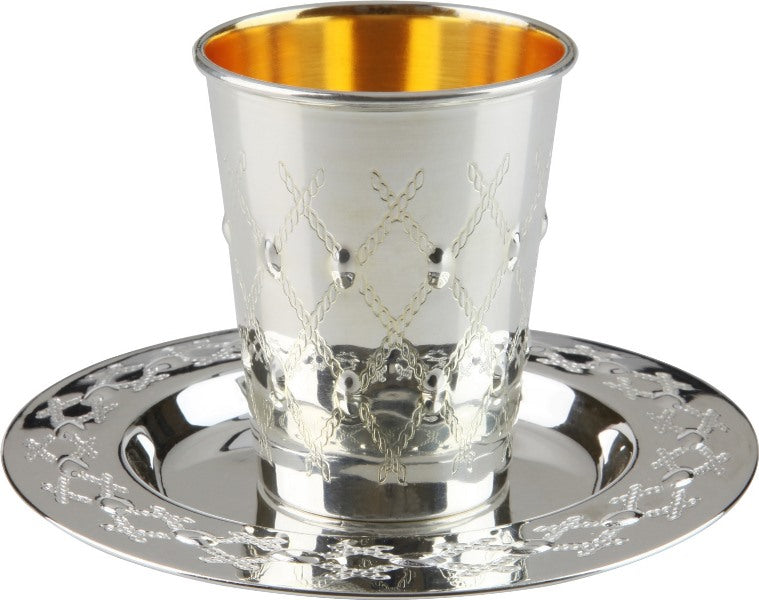 Kiddush Cup & Tray: Silver Plated Rope Grid Design