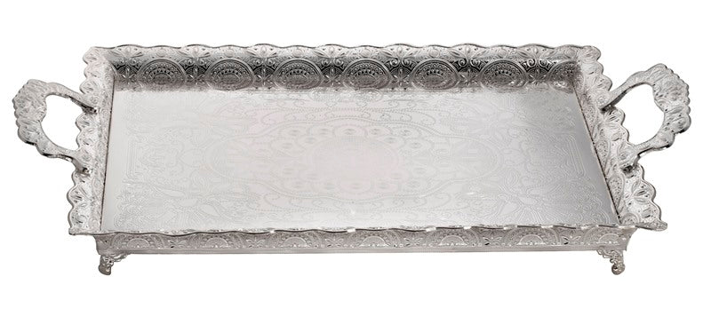 Tray: Silver Plated Filigree