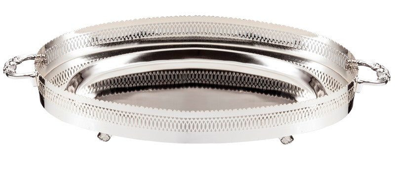 Tray: Silver Plated Oval & Handles