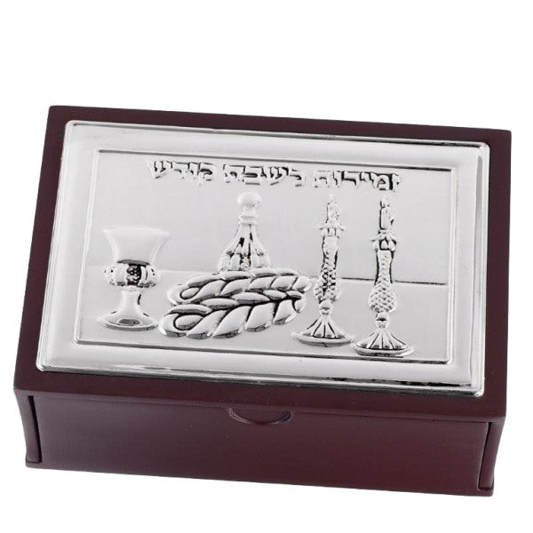 Bencher Holder & Drawer: Wood & Silver Plated