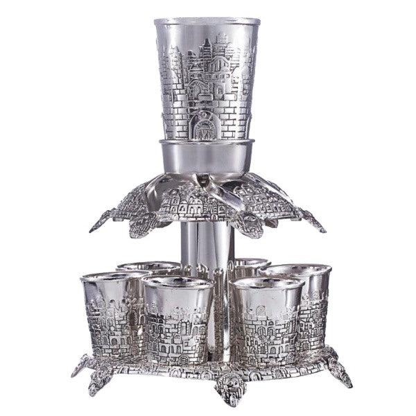 Kiddush Cup & Fountain: 6 Mini Cups Jerusalem Design