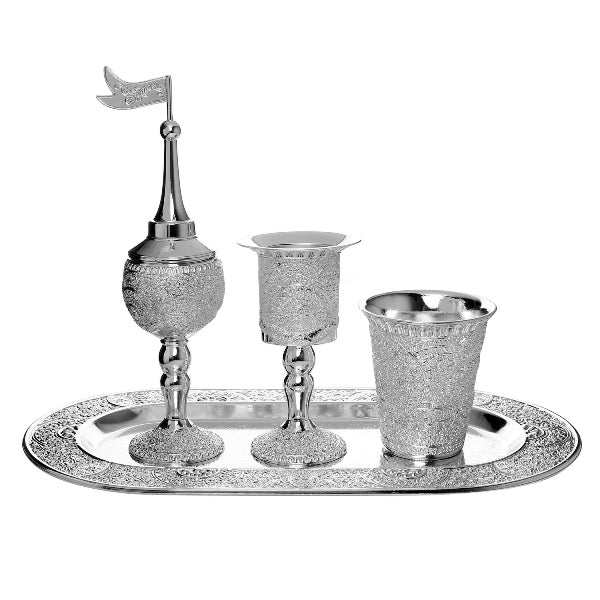 Havdalah Set: Silver Plate With Oval Tray Filagree