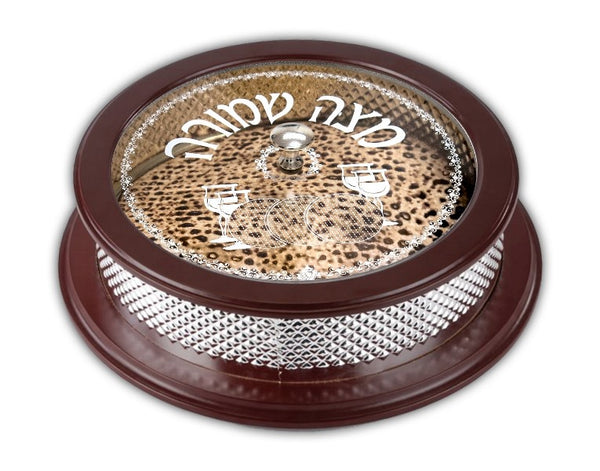 Matzah Holder: Wood And Silver Plated