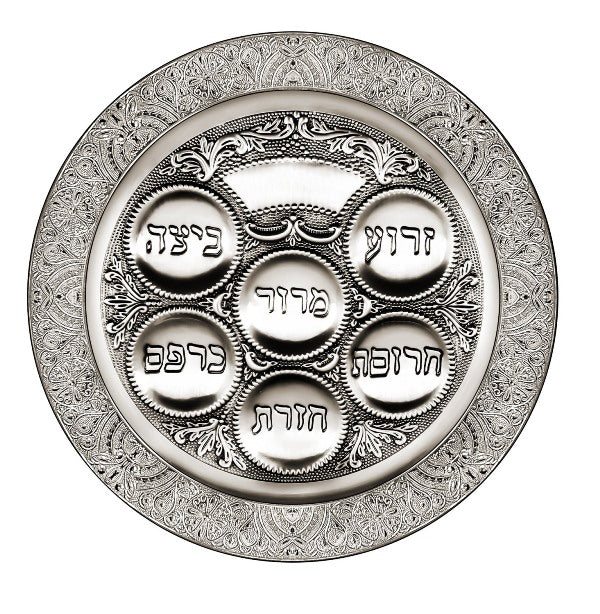 Seder Plate: Silver Plated Filigree Design - 15.5""