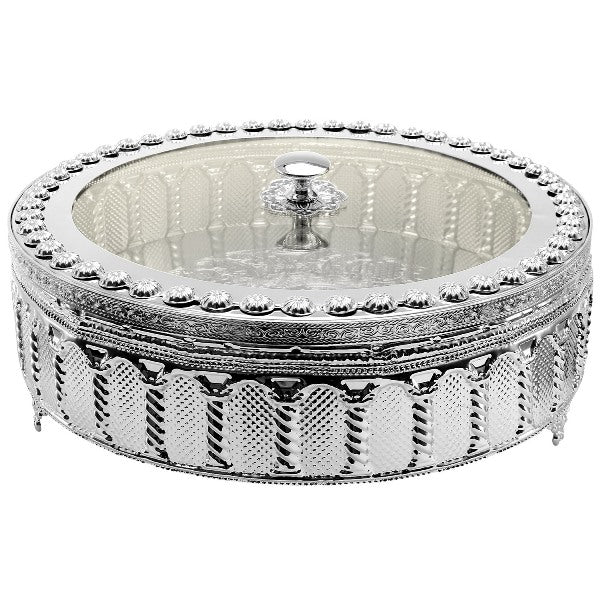 Matzah Holder: Silver Plate And Lucite Cover Palace Design