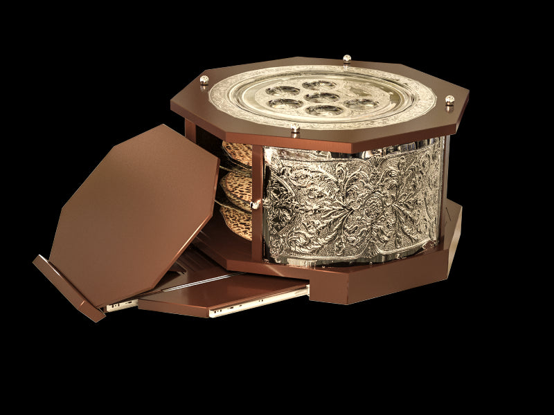 "Seder Plate: ""The Maggid Kaarah"" 3 Tier Mahogany And Silver Plated With Retractable Shtender - 16"""