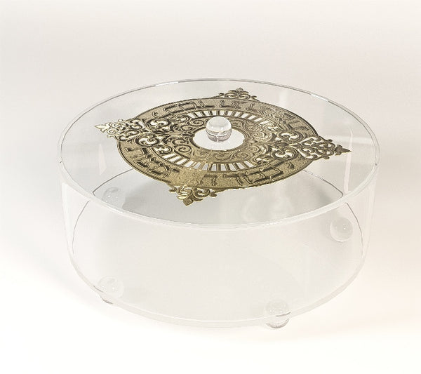 Lucite Matzah Box: Round With Gold Plate Round Legs