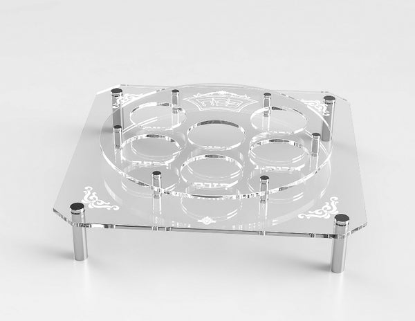 Lucite Lucite Square & Round Seder Plate Stand With Silver Legs