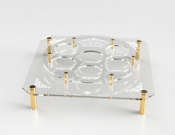 Lucite Square & Round Seder Plate Stand With Gold Legs