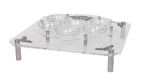 Lucite Square & Round Seder Plate Stand With Silver Legs & Engravings