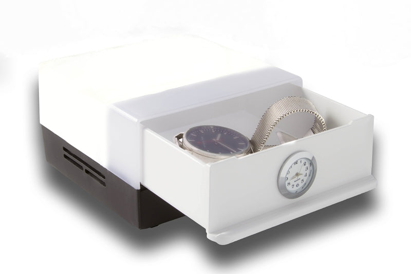 Shabled Shabbos Lamp - Black/White Body: Stainless Steel Clock