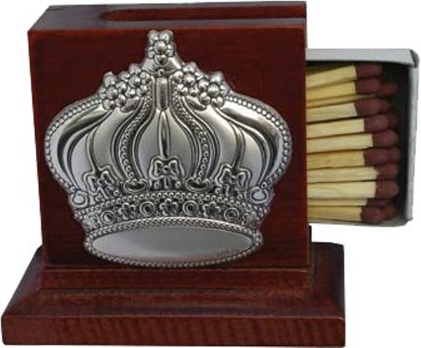 Match Box Holder: Wood With Silver Crown Design