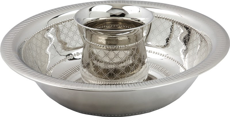 Wash Cup & Bowl: Nickel Plated Diamond Design