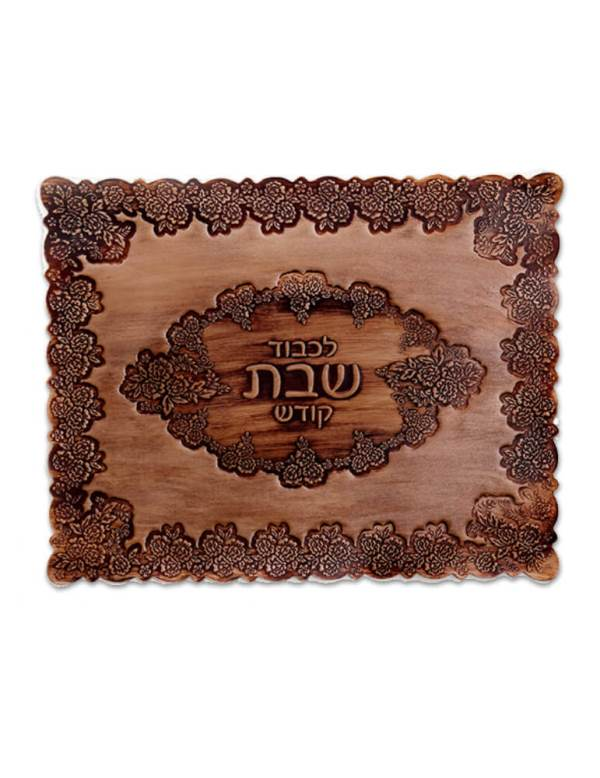 Challah Cover: Leather Floral Design - Beige