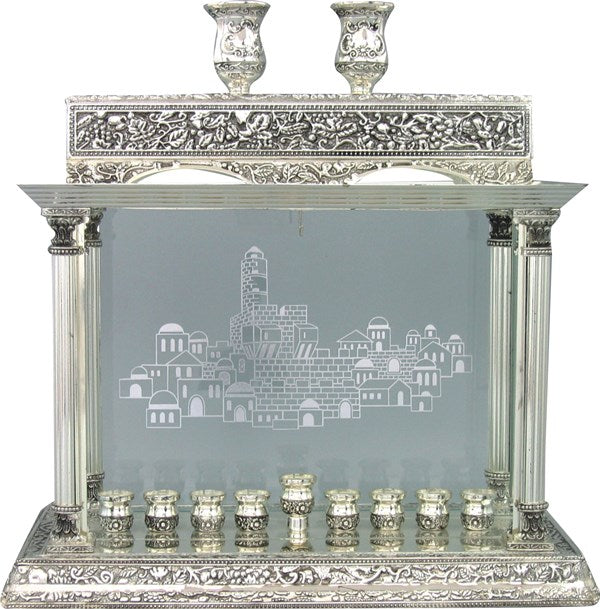 Chanukah Menorah: Silver Plated & Glass Jerusalem Design