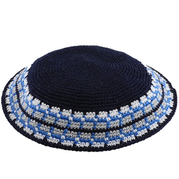 Yarmulka Knit Dmc 17Cm Blue With Blue And White Design Around