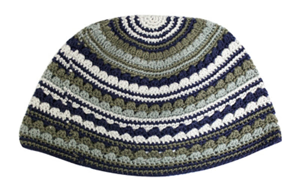 Hand Made Frik Yarmulka - Blue & Green