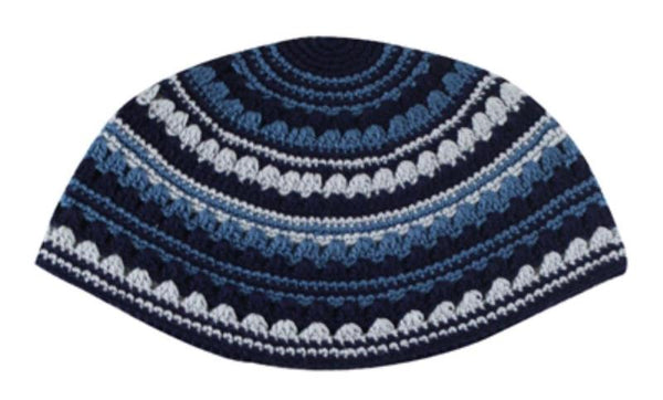 Yarmulka Frik Blue Colors Handmade 21Cm High Quality Hand Made,Stretches On The Head When You Wear It