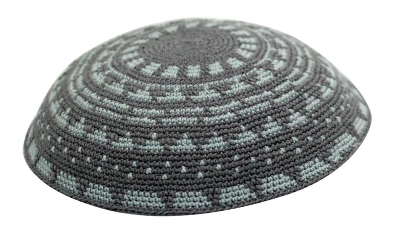 Yarmulka Knit: DMC 17Cm Grey With Light Blue